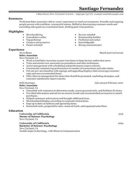 Best Part Time Sales Associates Resume Example LiveCareer