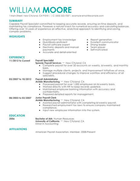 payroll resume - Ozilalmanoof - payroll practitioner sample resume