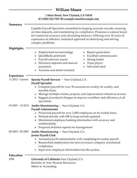 Best Payroll Specialist Resume Example LiveCareer - payroll practitioner sample resume
