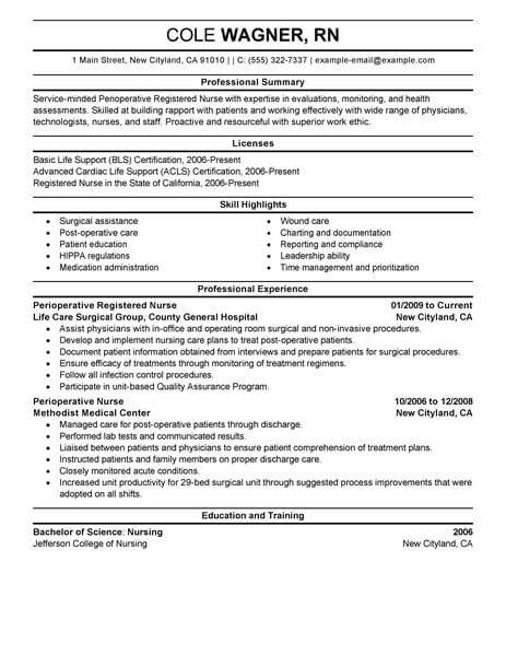 Best Perioperative Nurse Resume Example LiveCareer