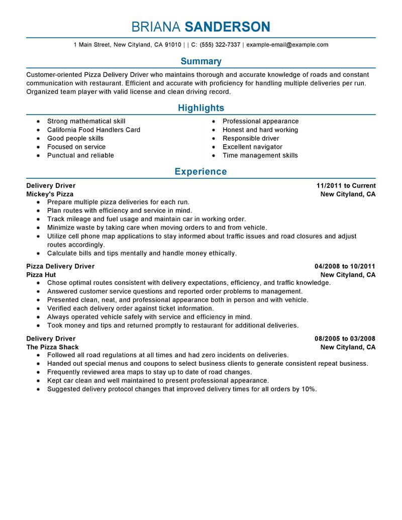 resume examples for food service jobs