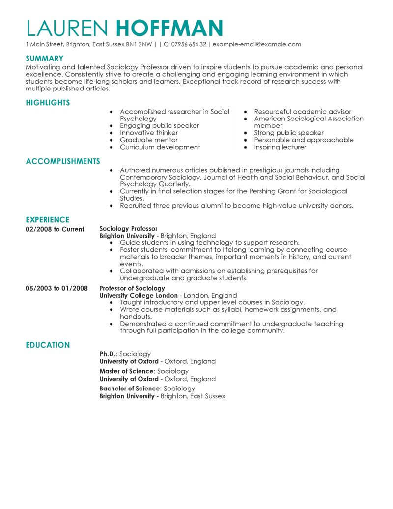 sample resume of professors at college