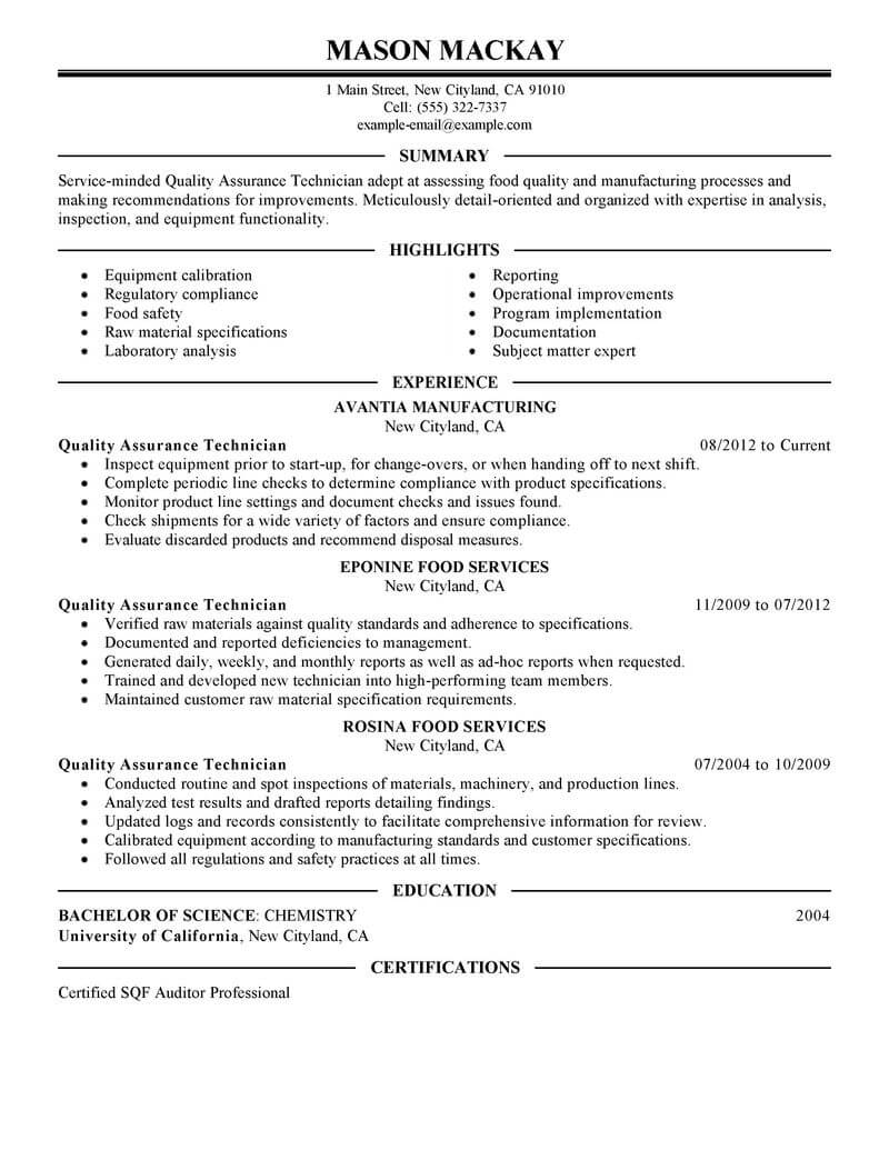 qa lead resume example