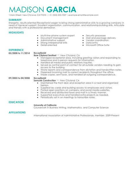 Best Receptionist Resume Example LiveCareer - get hired resume tips
