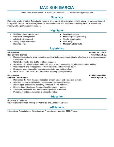 Best Receptionist Resume Example LiveCareer - skills for receptionist resume