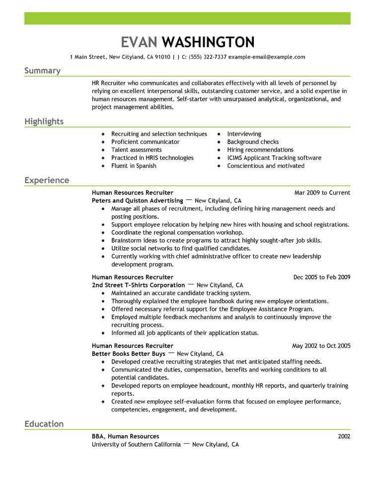 resume tips previous work history example