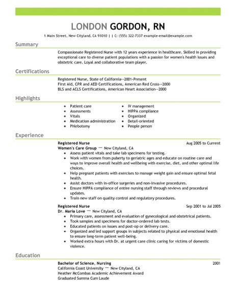 Best Registered Nurse Resume Example LiveCareer - resume samples