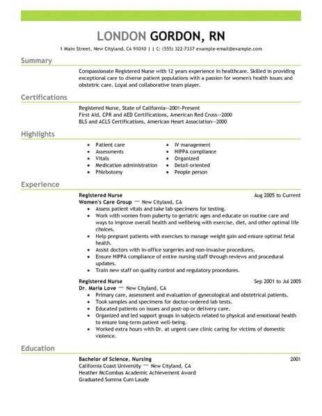 list rn license on resume example