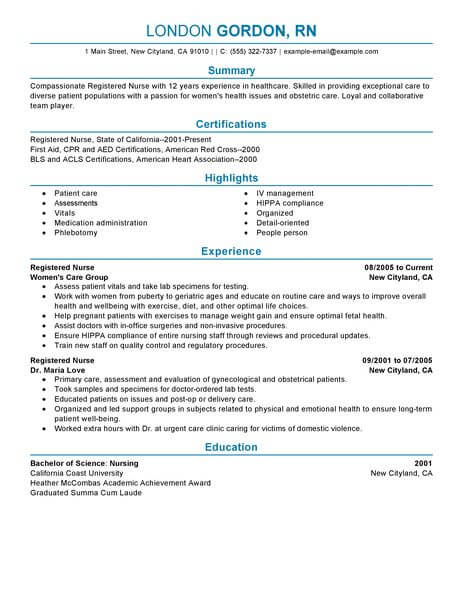 Best Registered Nurse Resume Example LiveCareer - profile on a resume example