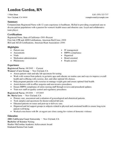 Best Registered Nurse Resume Example LiveCareer - rn resume template