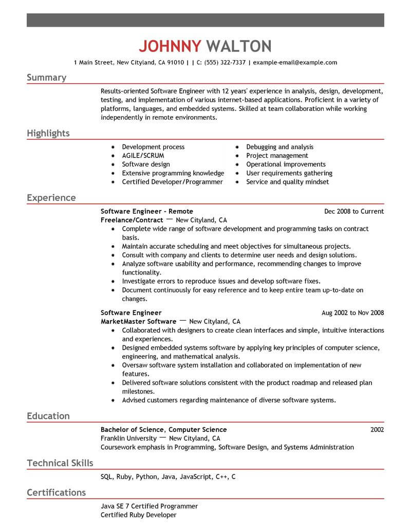 resume review software engineer