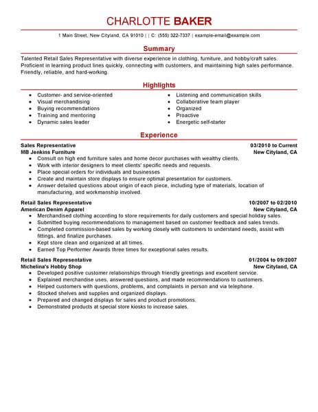 Best Rep Retail Sales Resume Example LiveCareer - Summary Of Skills Resume Sample