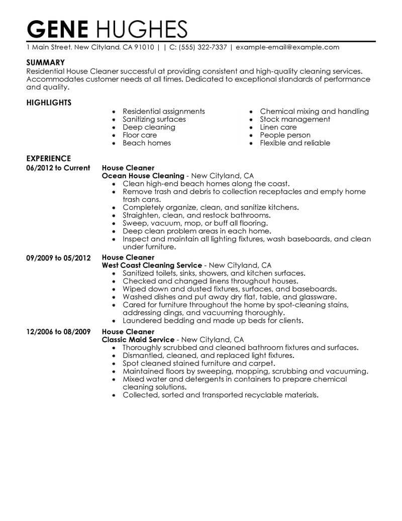 example resume for janitorial services