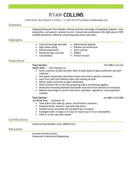 Best Restaurant Team Member Resume Example LiveCareer - how i make my resume