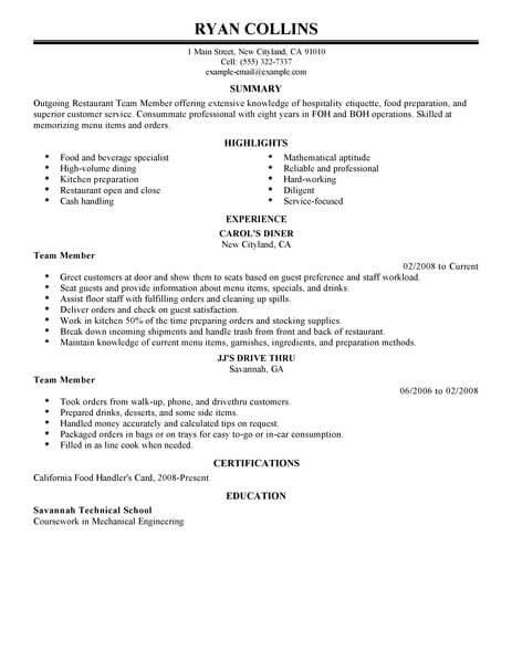 Best Restaurant Team Member Resume Example LiveCareer