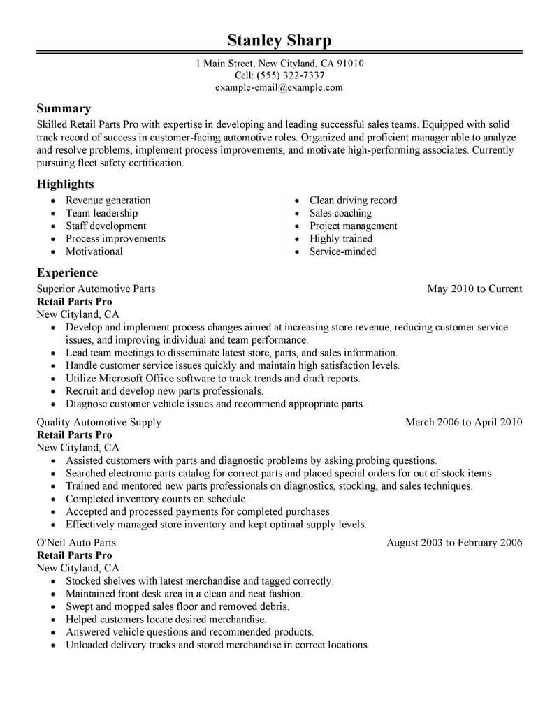 automobile parts manager resume sample