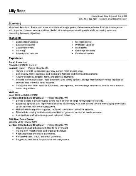 Best Retail And Restaurant Associate Resume Example LiveCareer - Objectives For Retail Resume