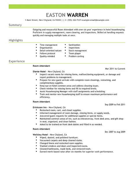 Best Room Attendant Resume Example LiveCareer - get hired resume tips