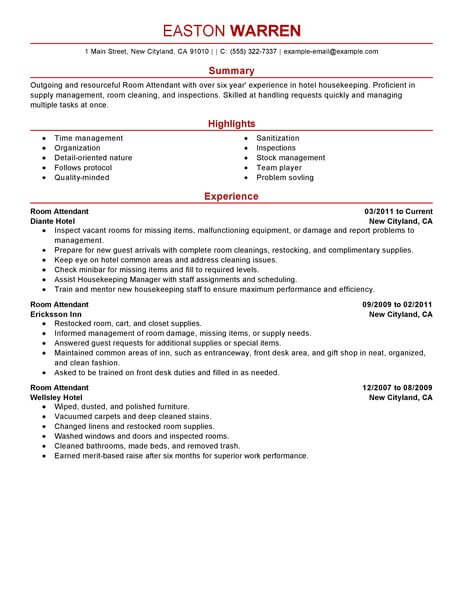 Best Room Attendant Resume Example LiveCareer - hotel room attendant sample resume
