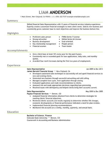 Best Sales Representative Resume Example LiveCareer - how to make a resume examples