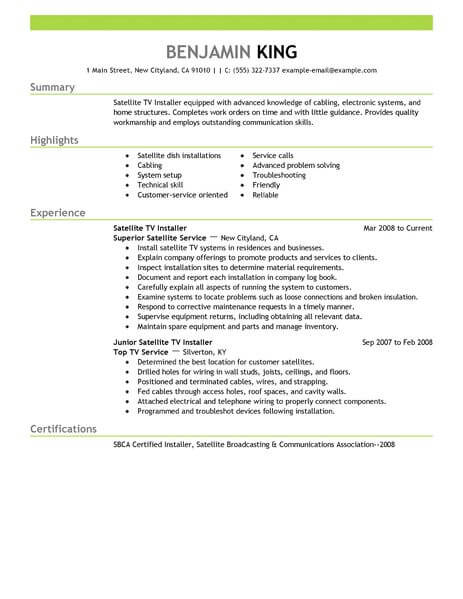 Satellite Tv Installer Resume Sample Installer Resumes LiveCareer