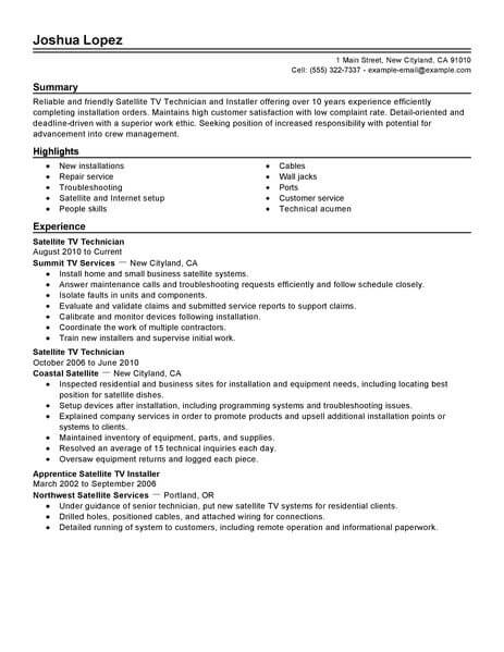 Simple Satellite Tv Technician Installer Resume Example LiveCareer