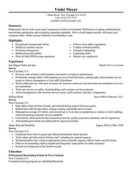 Best Hotel Server Resume Example LiveCareer - hotel resume