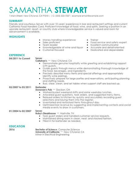 Servers Samples No Experience Resumes LiveCareer - Restaurant Server Resume