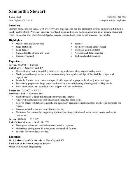 Servers Samples No Experience Resumes LiveCareer - how to start a resume