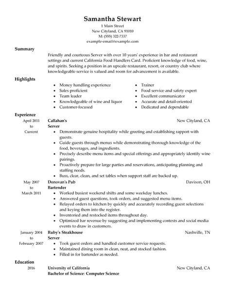 Servers Samples No Experience Resumes LiveCareer - Server Experience Resume Examples
