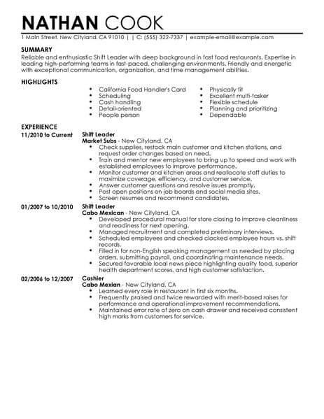 Shift Leader Resume Sample Leader Resumes LiveCareer