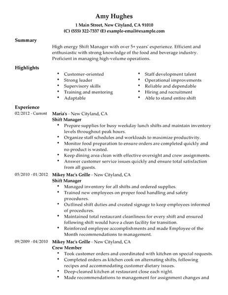 restaurant shift manager sample resume
