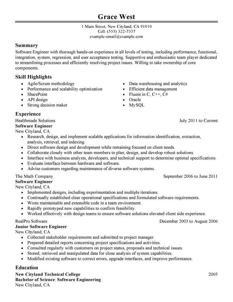 computer software engineer resume examples
