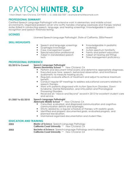 Best Speech Language Pathologist Resume Example LiveCareer - Sample Speech Language Pathology Resume