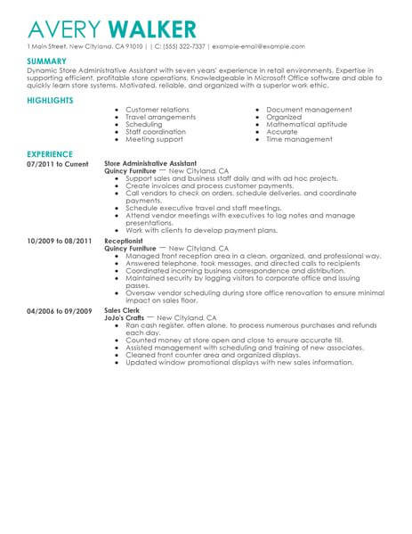 Best Store Administrative Assistant Resume Example LiveCareer - retail administrator sample resume