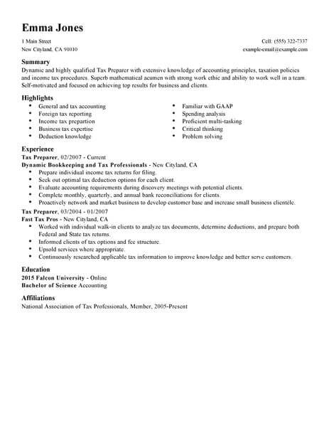 resume job description for tax preparer