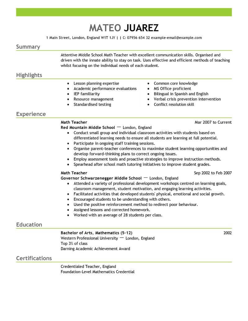 education examples of resume