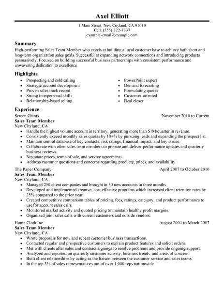 sales team member resume sample