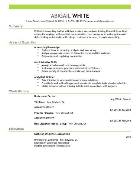Internship Resumes Sample Resume For A Film Industry Internship