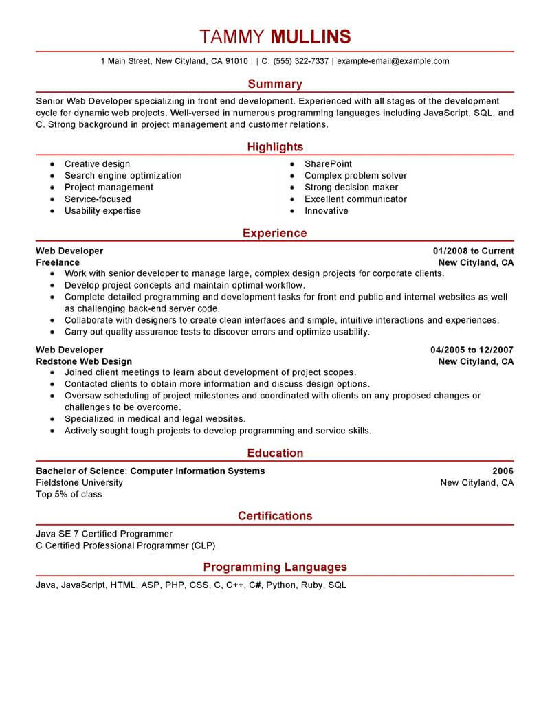 resume for software developer experienced
