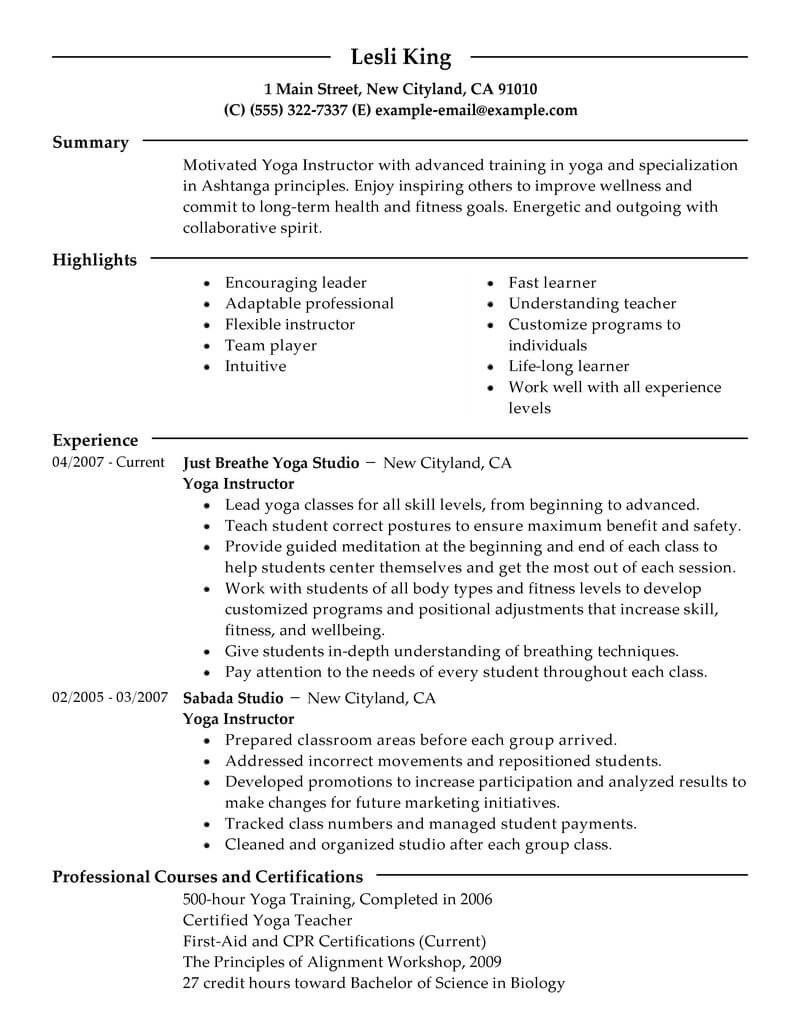 ashtanga yoga instructor resume sample