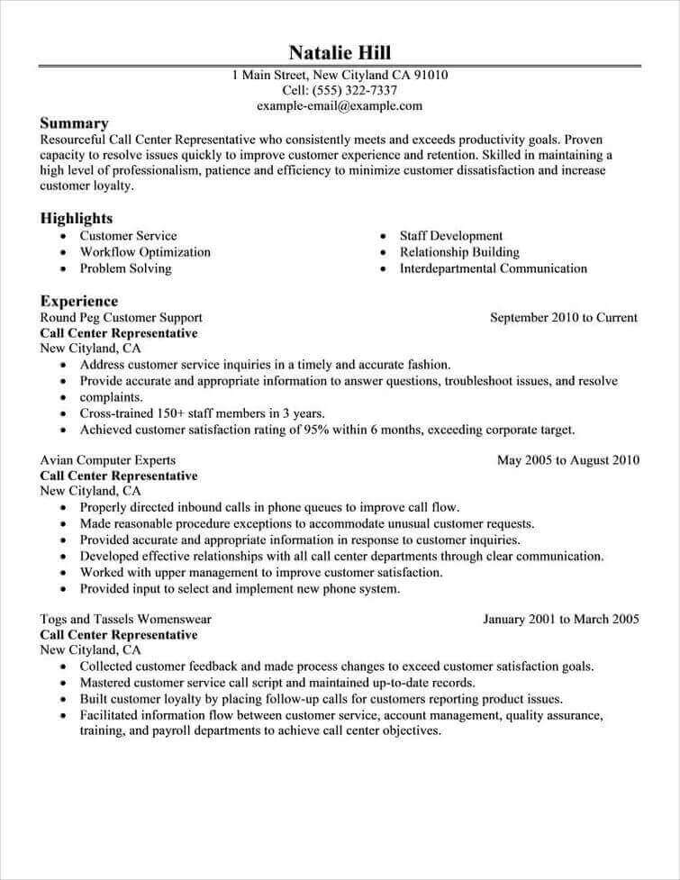 Resume Examples View Resume Examples By Professional Resume Writers - Resume Samples For Call Center Job