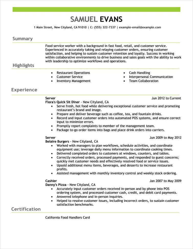 Free Resume Examples by Industry  Job Title LiveCareer - Food Service Worker Sample Resume