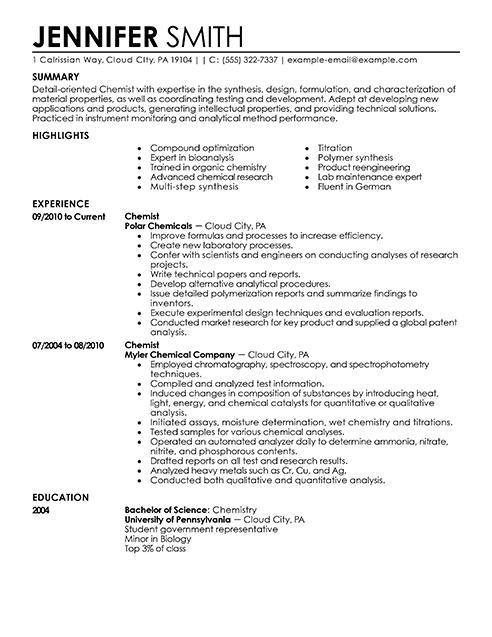 example senior chemist resume