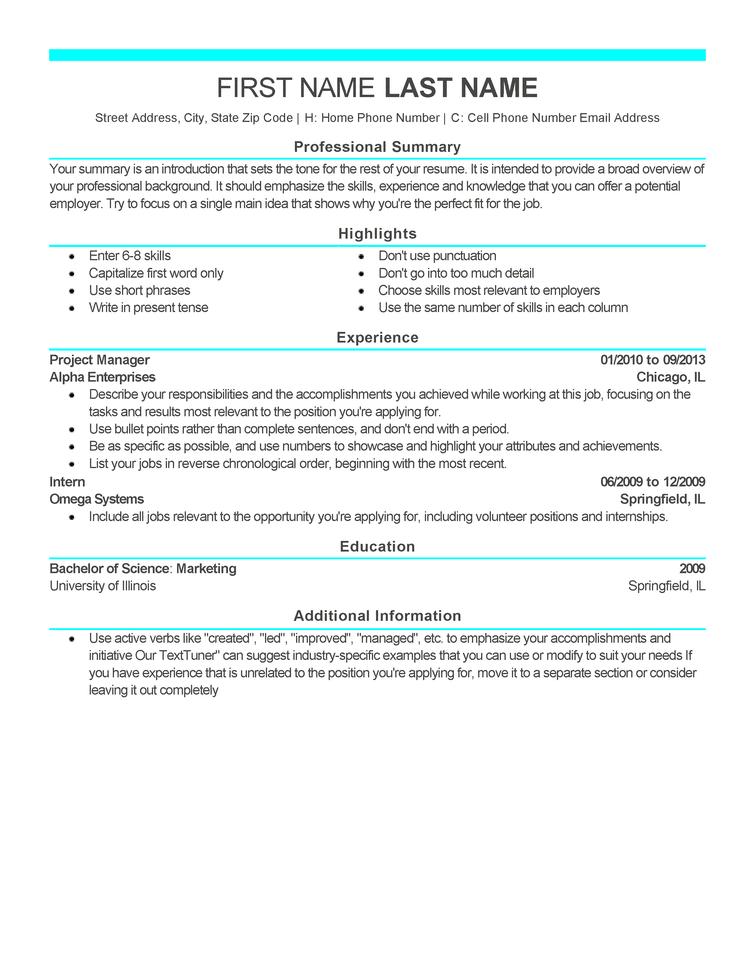 modern standard resume