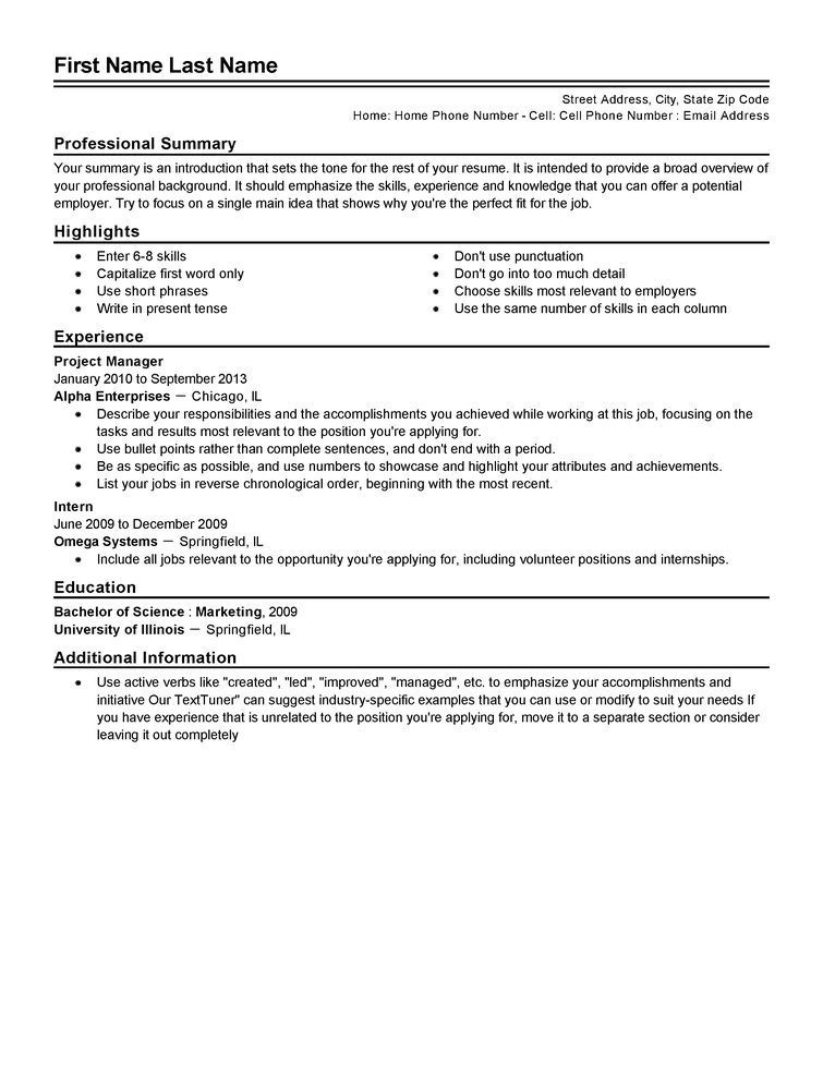 traditional resume template word