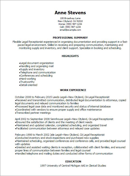 receptionist resume skills examples