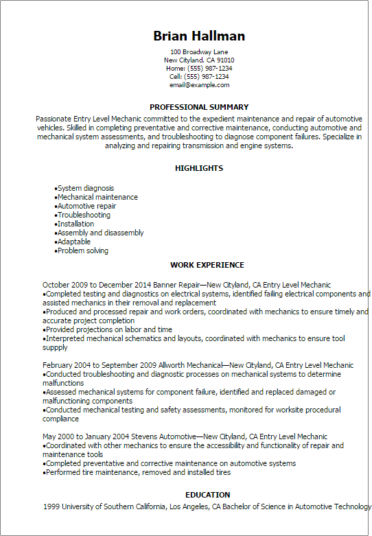 entry level automotive technician resume sample