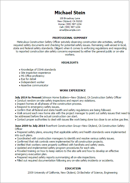 resume templates for construction safety officer