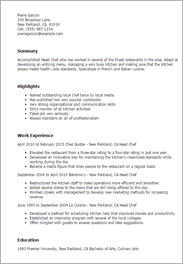 culinary arts resume template